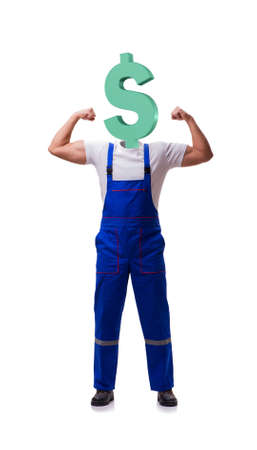 Worker with dollar head in business concept Banque d'images - 131877220