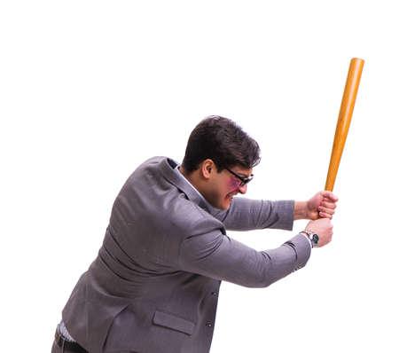 Businessman with baseball bat isolated on white Imagens