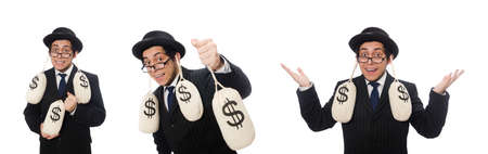 Young employee holding money bags isolated on white Banque d'images - 131877489