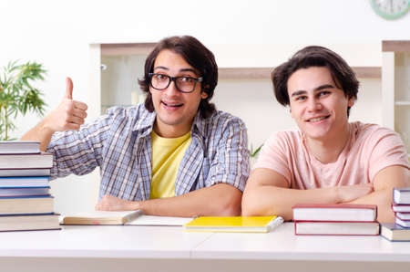 Two male students preparing for exams at home 写真素材 - 131877618