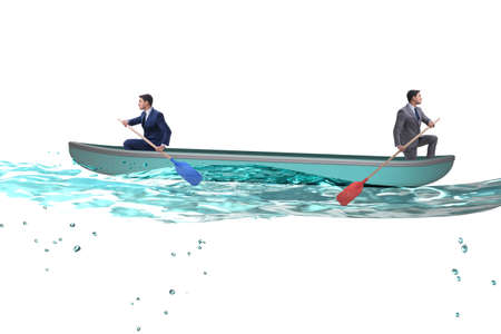 Disagreement concept with businessmen rowing in different direct 写真素材 - 131878581