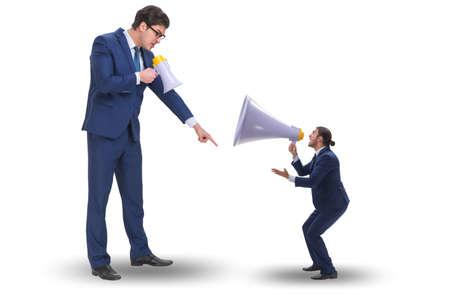 Businessman shouting through large loudspeaker Stockfoto