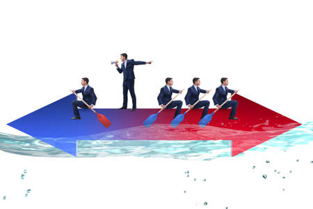 Disagreement concept with businessmen rowing in different direct 写真素材