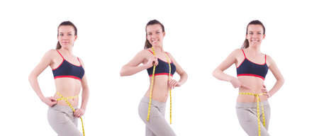 Young girl with centimeter in dieting concept Stockfoto