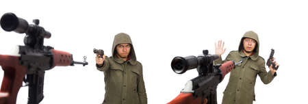 Man with a gun isolated on white Stok Fotoğraf