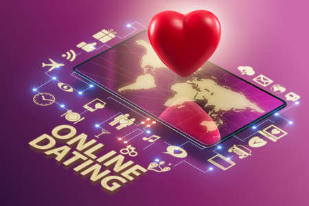 Concept of online dating and matching - 3d rendering