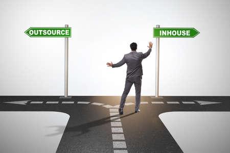 Businessman at crossroads deciding between outsourcing and inhou