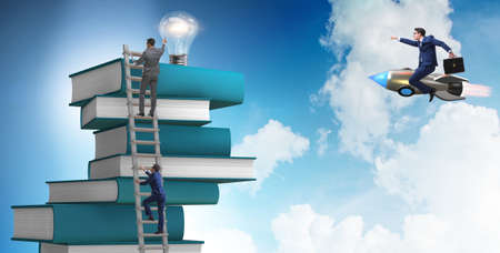 Education concept with books and people