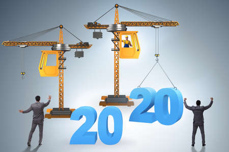 Crane lifting numbers in year of 2020 concept Stock fotó - 132031719