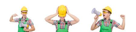 Funny construction worker with loudspeaker on white Imagens