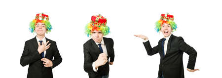 Funny clown businessman isolated on white