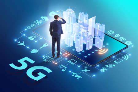 Businessman in 5g high internet speed concept