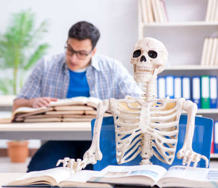 Student skeleton listening to lecture in classroom 写真素材 - 131876694