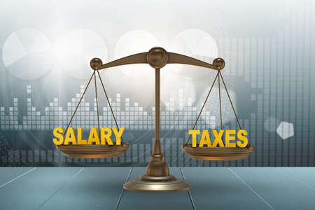 Scales with the taxes and salary - 3d rendering Banco de Imagens - 131653562