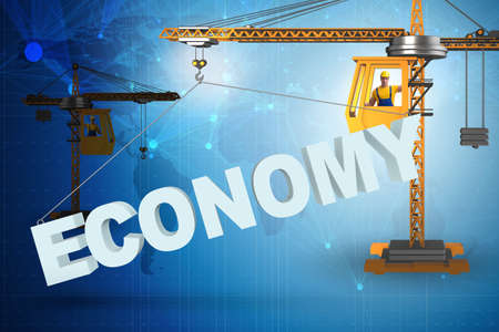 Crane lifting word economy up