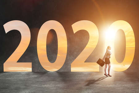 Businesswoman and concept of new year 2020