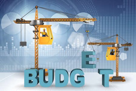 Crane lifting letter in budgeting concept Stockfoto