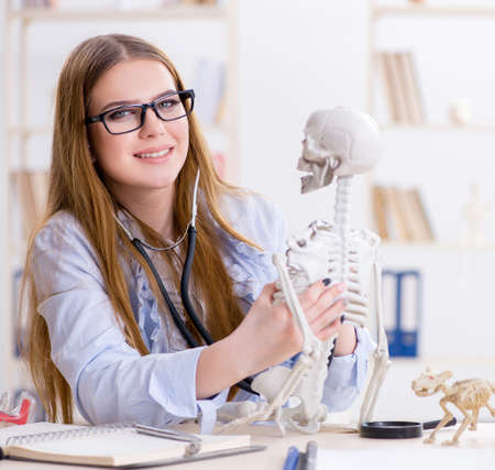 Student sitting in classroom and studying skeleton Banco de Imagens