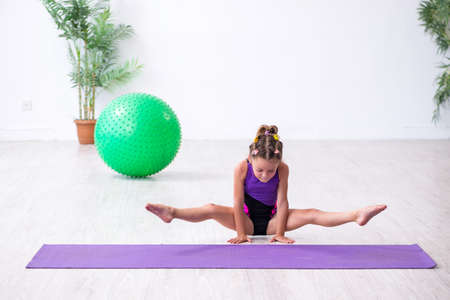 Little girl gymnast doing exercises indoors 写真素材 - 132002172