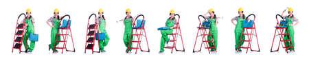Woman repair worker with ladder Stok Fotoğraf