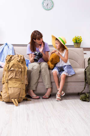 Happy family planning vacation trip Stock Photo