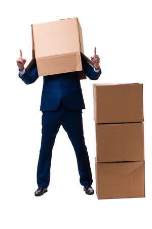 Young male employee with boxes isolated on white Imagens