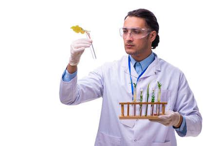 Young male chemist isolated on white Zdjęcie Seryjne
