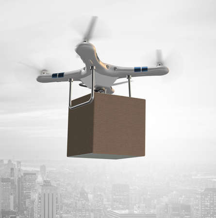 The various modern delivery methods with rockets and drone Stockfoto