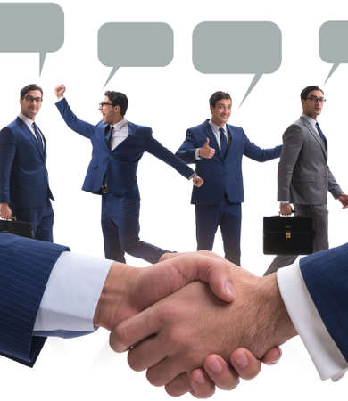 The cooperationa and teamwork concept with handshake