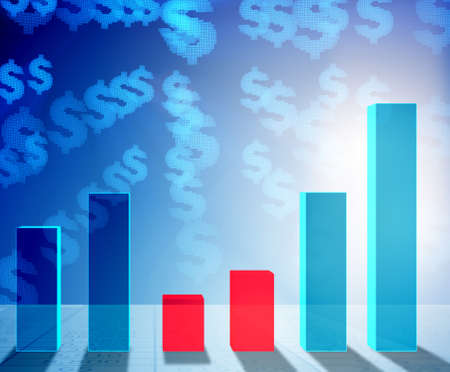 The growing bar charts in economic recovery concept - 3d renderi