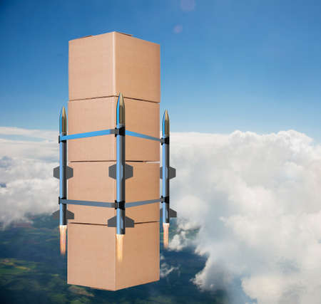 Concept with box delivery and rockets