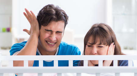 The young family frustrated at baby crying