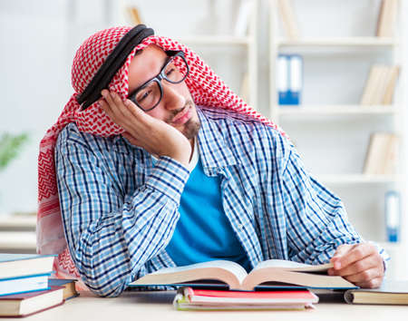 Arab student preparing for university exams Stock Photo