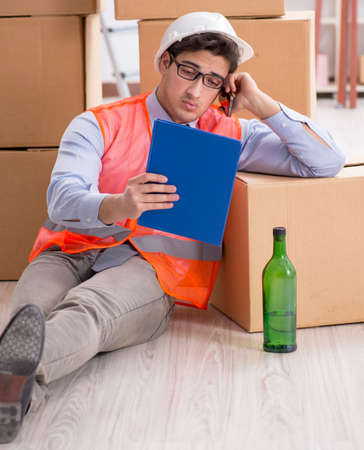 Delivery man drunk at work Standard-Bild - 132004979