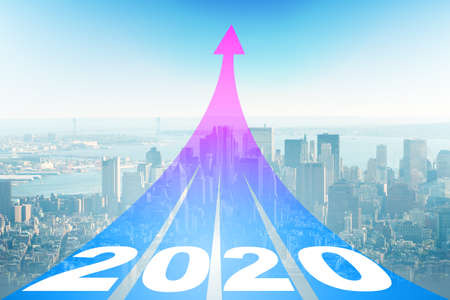 The year 2020 concept with arrows going up Zdjęcie Seryjne