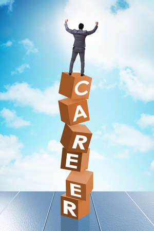The career concept with businessman on top of blocks