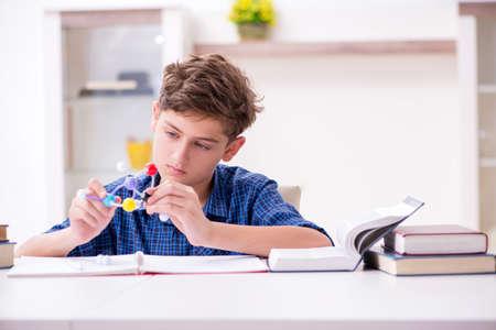 Kid preparing for school at home Stok Fotoğraf