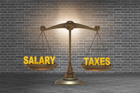 Scales with taxes and salary - 3d rendering Stock Photo