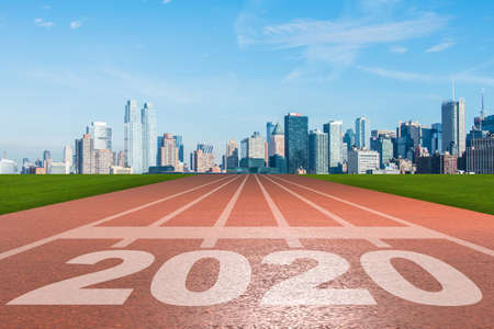 Year 2020 concept with running track