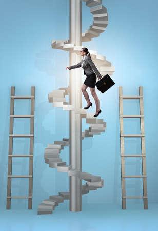 Concept de progression de carrière avec des échelles et un escalier
