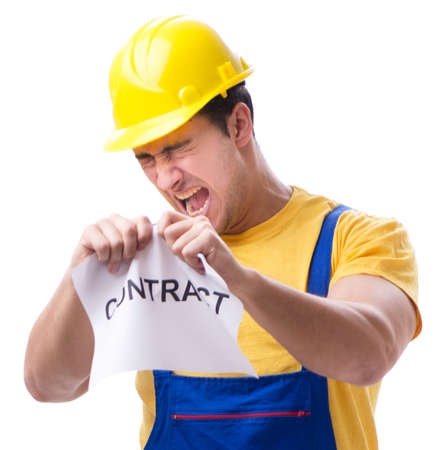 Worker not happy with his employment contract Foto de archivo