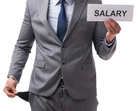 Businessman asking for salary increase isolated on white backgro 版權商用圖片