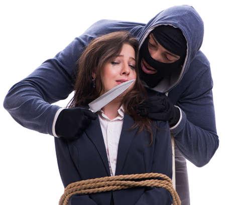 The knifeman threatening tied woman