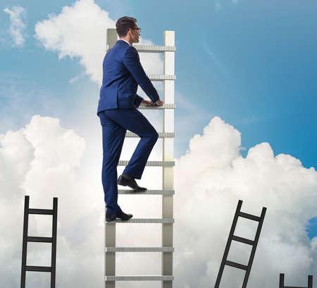 Career concept with businessman climbing ladder Stok Fotoğraf