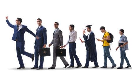 Concetto di affari con l'uomo che avanza attraverso le fasi