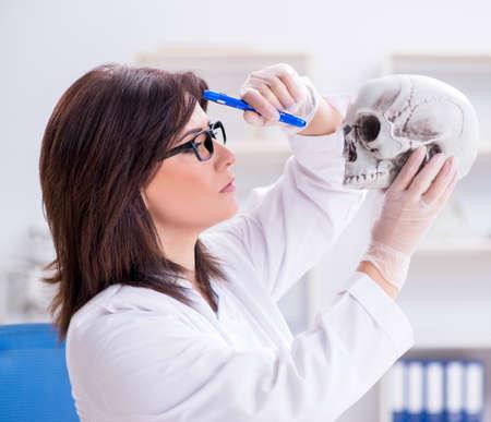 Lekarz pracujący w laboratorium nad szkieletem