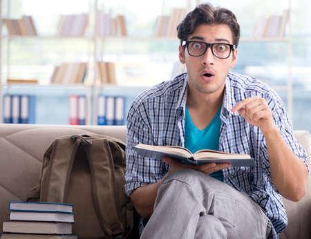 Caucasian student preparing for university exams