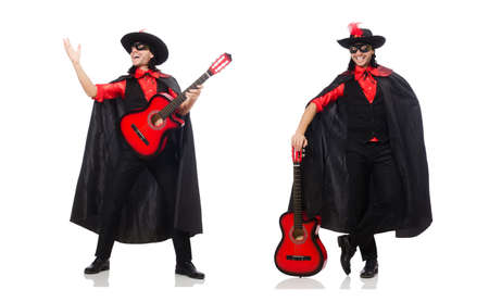 Young man in carnival coat with guitar isolated on white Archivio Fotografico
