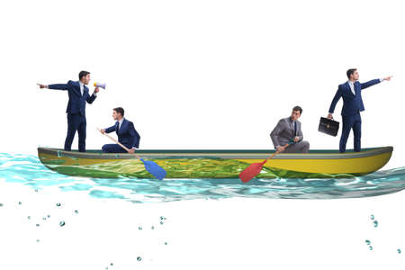 Disagreement concept with businessmen rowing in different direct 版權商用圖片