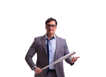 Businessman with baseball bat isolated on white